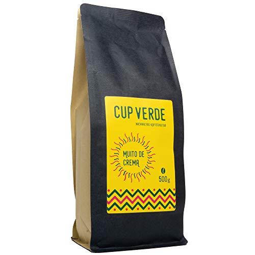 CUP VERDE - Muito de Crema ganze Bohne - 500 g Gourmet Kaffee – Reich an Crema , Aroma und Koffein. Handröstung , Masterblend feinster Kaffeegenuss (Kaffee Crema)