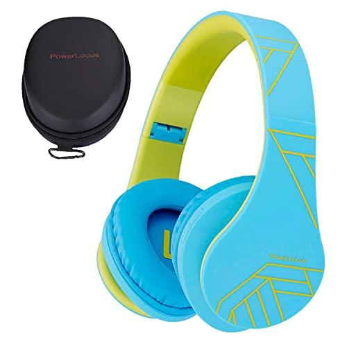 Auriculares para niños, PowerLocus Auriculares Bluetooth para niños, con 85DB Volumen Limitado, Auriculares Plegable con micrófono, Micro SD Slot, Auriculares Inalámbricos y con Cable, con Estuche