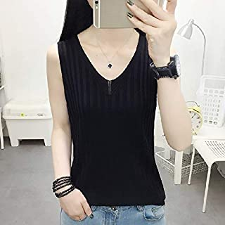 T-Shirt Loose Sleeveless Bottoming Shirt Ice Silk Knitted Vest T-Shirt (Color : Black, Size : Free Size)