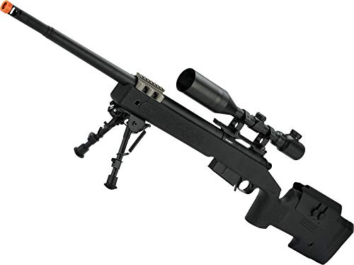 Evike Airsoft - 6mmProShop PDI Custom Upgraded USMC M40A5 Realistic Cycling Action Airsoft Sniper Rifle (Model: Black)