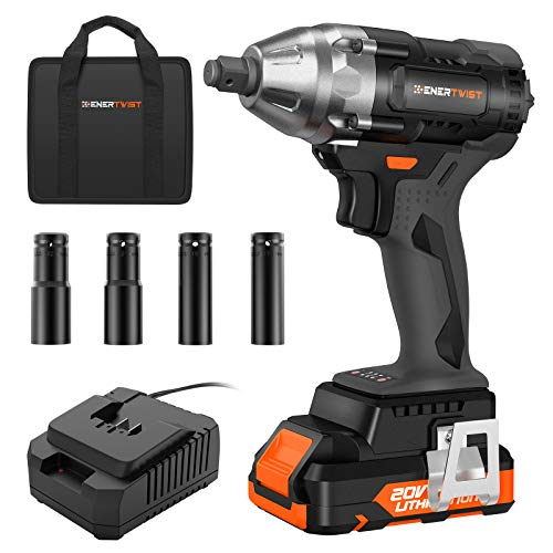 Enertwist 20V Max Brushless Impact Wrench, 1/2' Hog Ring Anvil, 2 Speeds Setting, Cordless Impact Gun w/ 2.0AH Battery, Fast Charger, 4pcs Driver Impact Sockets, Belt Clip in Carry Bag