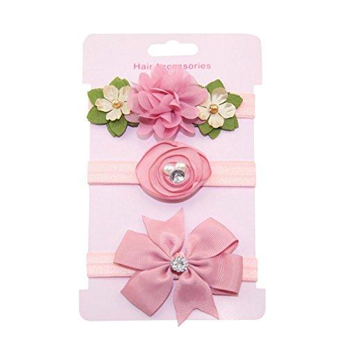 erthome Haarnadel, 3Pcs Kinder Blumen Stirnband Mädchen Baby Bowknot Hairband Set Haar Clips (A)