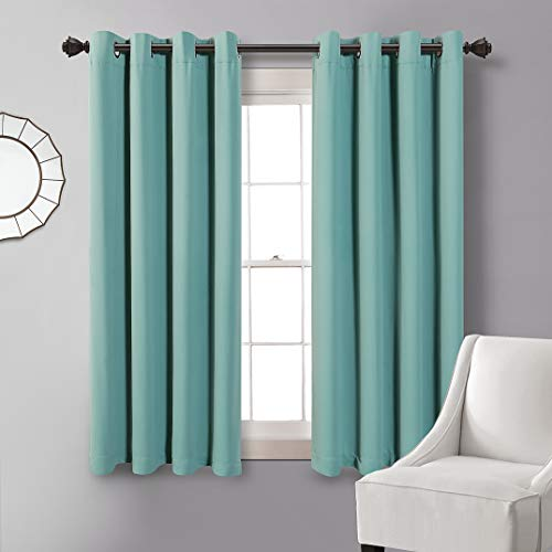 Blackout Curtains 63 Length,Grommet Thermal Insulated Room Darkening Window Curtain for Bedroom,Living Room,Teal,52x63 Inch,1 Panel