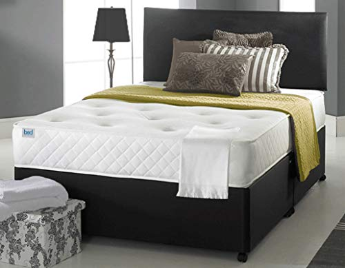 Ciana Faux Leather Divan Bed Set With Memory Sprung Mattress, 2 Drawers and 24 Inch Leather Headboard (4FT6 Double, Black)