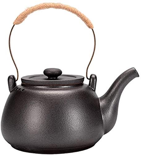 Hervidor de cocina negro redondo hervidor de cerámica creativo retro estilo chino Tetera adecuada para estufas de hogar (900 ml, 30 onzas) teteras de té
