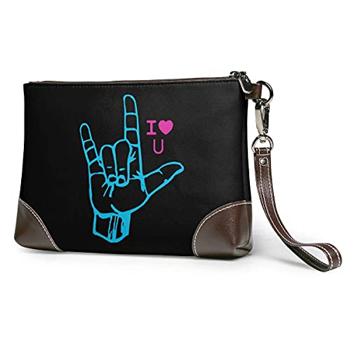 XCNGG Lenguaje de señas Te amo Hombres y mujeres Embragues de cuero Carteras de piel de vaca real Bolsas de almacenamiento Bolsas para teléfonos inteligentes