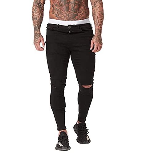 Jean Homme Skinny Déchiré - Pantalon Homme Slim Fit Extensible - Jean Noir Elastique Pas Cher (Dark, 40)
