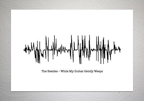 The Beatles – Terwijl mijn gitaar zachtjes huilt - Sound Wave Song Art Print - A4 formaat
