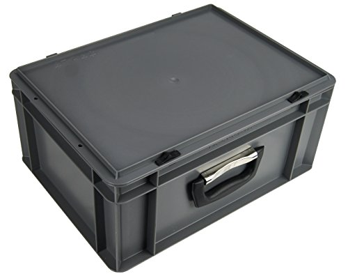 Euro-Stapelkoffer EKO-4145, stapelbar, grau, mit Koffergriff, Außenmaße 400x300x156 mm (LxBxH), 13 Liter Nutzvolumen