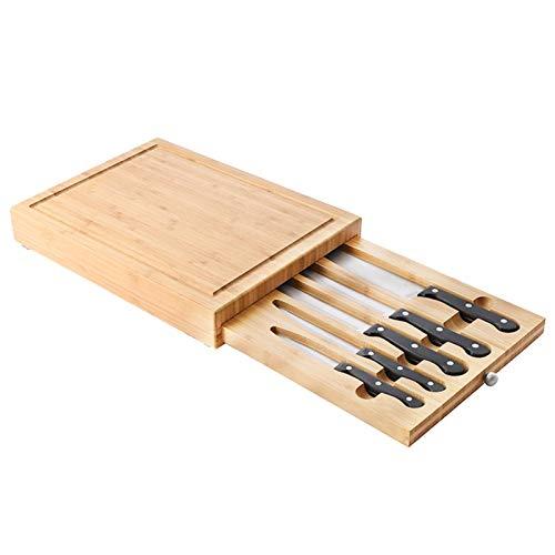 Jiaermei Tabla de queso multifuncional de bambú natural, con 5 cuchillos, vajilla Western, tabla para queso, frutas, aperitivos