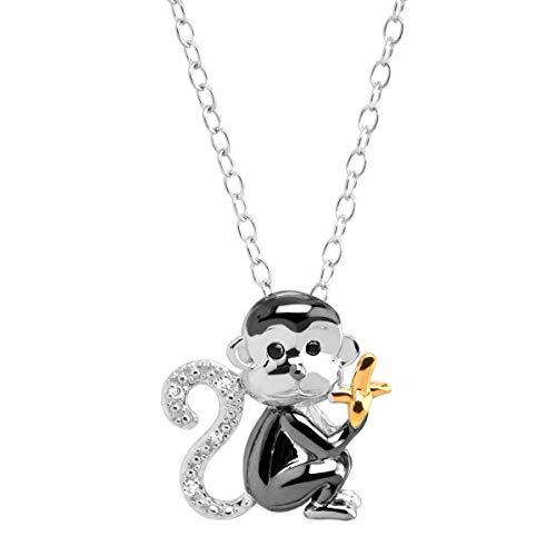 925 Sterling Silver Monkey /& Banana Stud Earrings 29133