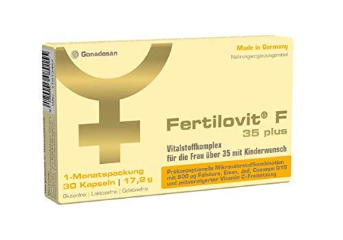 Fertilovit F 35 plus | 30 Kapseln | 1-Monatspackung | Vitamine und Mineralien bei Kinderwunsch/hochdosierte (800 µg) Folsäure/zusätzliches Coenzym Q10 / ideal für die Frau ab 35