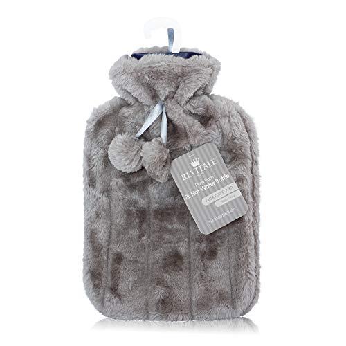 Housse de luxe en fausse fourrure et pompons + bouillotte - 2 l, gris ardoise