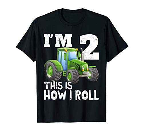 Green Farm Tractor 2nd Birthday Party Gift 2 Year Old T-Shirt