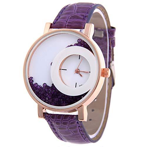 Mujeres relojes de pulsera de arena movediza Rhinestone imitación cuero correa sin número reloj analógico de cuarzo