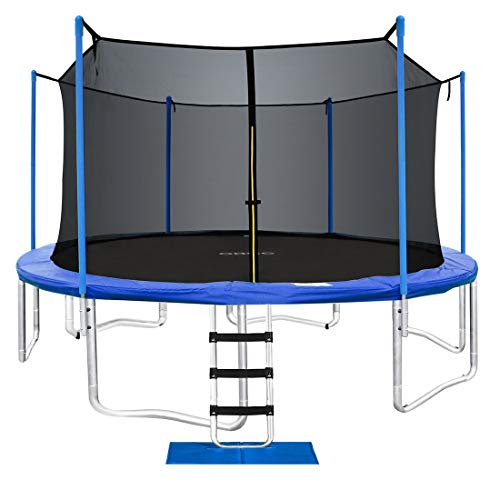 ORCC 15 14 12 10FT Trampoline 400 LBS Weight Capacity for Kids Adults with Safety Enclosure Net Wind Stakes Rain Cover Ladder, Safe Outdoor Trampoline for Backyard