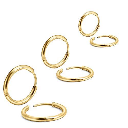 EACHLP 6Pcs 316L Surgical Stainless Steel Small Gold Huggie Hoop Earrings 6mm 8mm 10mm Hypoallergenic Earrings Hoop Cartilage Helix Lobes Hinged Sleeper Earrings for Men Women (6mm 8mm 10mmGold)