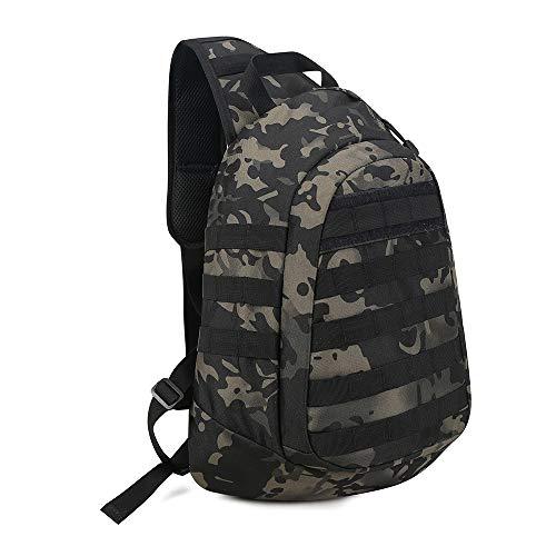 Huntvp® Taktisch Brusttasche Militär Schultertasche Molle Dreieck Pack Crossbody Bag Wasserdicht Bundeswehr Alltagstasche Slingbag mit Verstellbar Schultergurt, Camouflage