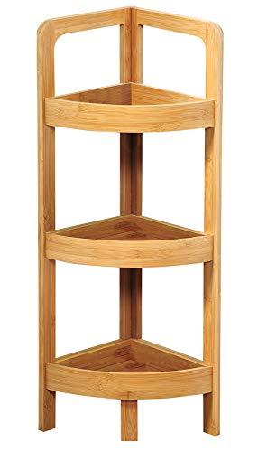 Kesper 19431 Eckregal mit 3 Ablageböden, gefertigt aus Bambus, Maße: 23 x 23 x 77 cm