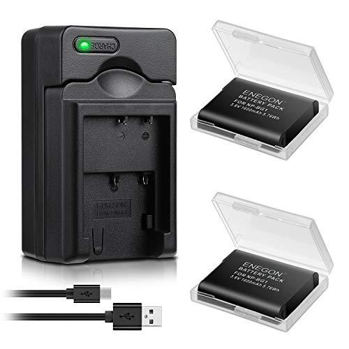 Batería ENEGON (Paquete de 2) y Cargador USB rápido para Sony NP-BG1, NP-FG1 y Sony Cyber-Shot DSC-W30 W35 W50 W55 W70 W80 W120 W150 W220 WX1 WX10 HX9V H7 H9 H10 H20 H70 H50 H55 H90 HX5V HX9V HX10V