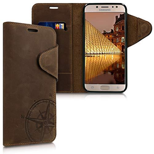 kalibri Wallet Hülle kompatibel mit Samsung Galaxy J7 (2017) DUOS - Hülle Leder - Handy Cover Handyhülle Kompass Vintage Braun