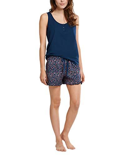 Schiesser Damen Schlafanzug kurz mit Oberteil ärmellos Pyjamaset, Petrol, 38
