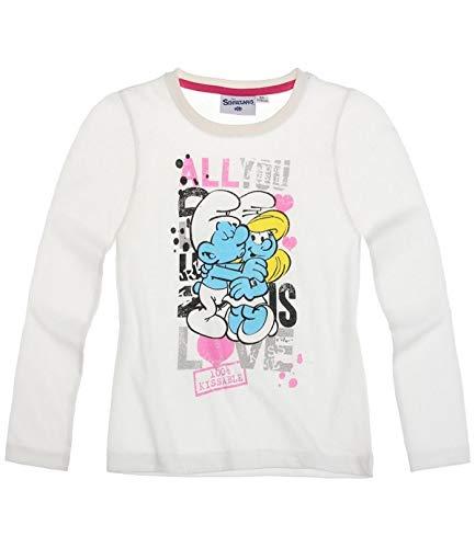 Die Schlümpfe Langarmshirt Sweatshirt für Mädchen in 4 Größen und 3 Motive, Farbe:Creme, Größe:140