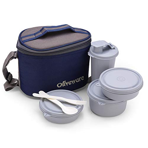 Oliveware Groove Lunch Box | Steel Range | Microwave Safe & Leak Proof | 3 Air-Tight Containers + 1 Tumbler with Bag | Keep Food Hot | School, College & Office Use (Blue)
