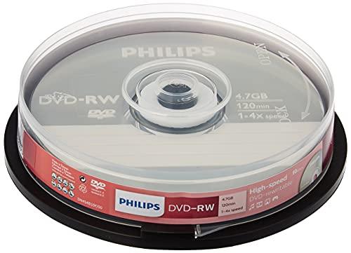 Philips DVD-RW Rohlinge (4.7 GB Data/ 120 Minuten Video, 1-4x Speed Aufnahme, 10er Spindel)