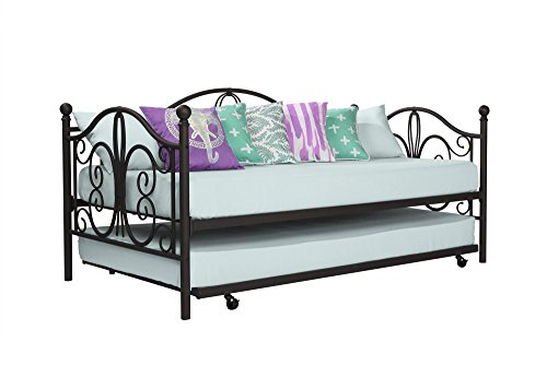 DHP Bombay Metal Frame and Twin Size Trundle, White Daybed, Twin/Twin