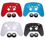Silikon-Schutzhülle mit 2 Joystick-Kappen, Daumengriffe, Kappe für Switch Pro Controller, Weiß