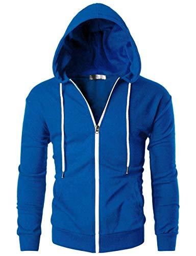 Miwaimao Sweat à Capuche en Coton Manches Longues Sweat Elastique Respirant Confortable Respirant Lâche Casual Sweater Outdoor Sports Running Fitness - - S
