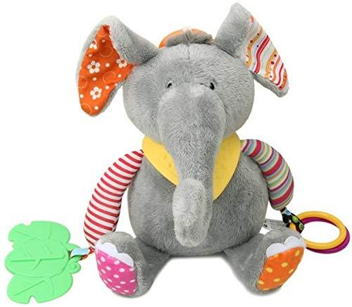 DIVISTAR Cochecito de bebé bebé cochecito colgante sonajeros juguete suave mordedor masticar muñeca elefante