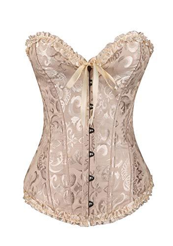 EFOFEI Cors para mujer, cors de novia, ajustable, con cordones estampados, cors sexy, cinturn albaricoque XL