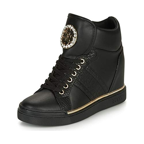 Guess Chaussures Femme Sneakers avec Coin Interne FL5FREELE12 Noir Taille 36 Black
