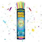 PartySticks Glow Sticks Party Supplies 100pk - 8 Inch Bulk Glow Light Up Sticks Party Favors, Glow in the Dark Party Decorations, Neon Party Glow Necklaces and Glow Bracelets with Connectors