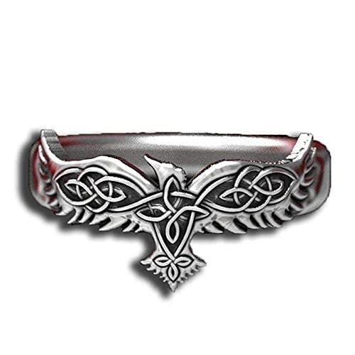 Anillo de aleación de plata vintage con nudo de águila y lobo para hombres, anillo de joyería de aves punk, cuervos dominantes, anillos de cuervo, animales frescos, 1 unidad_10