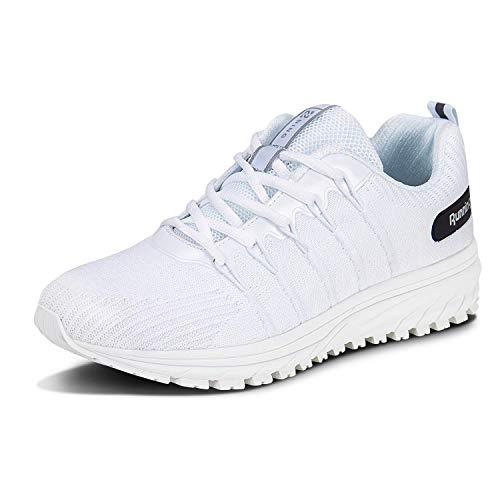 Straßenlaufschuhe Herren Damen Laufschuhe Fitness Turnschuhe Sneakers Air Sportschuhe Running Shoes(03-Weiß,39)