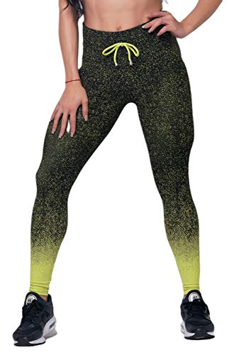 D.M. - Sporthose für Damen Fitness, Premium Qualität aus Jacquard-Stoff, ideal für Yoga, Laufen, Crossfit