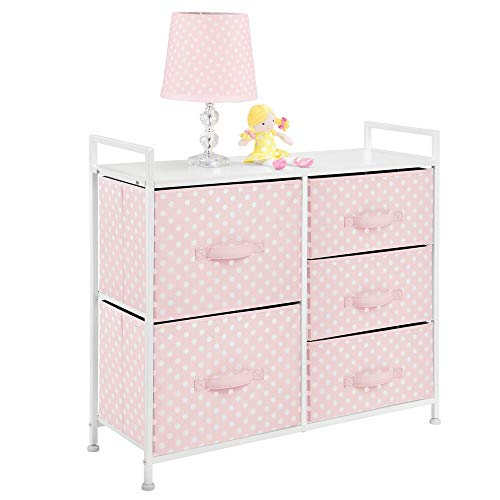 """mDesign Wide Dresser 5 Drawers Storage Furniture - Wood Top, Easy Pull Fabric Bins - Organizer for Child/Kids Room or Nursery - Polka Dot Pattern, 32.6"""" W - Pink with White Dots"""