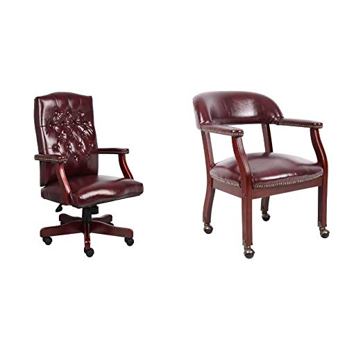 Boss Office Products Classic Executive Caressoft Chair with Mahogany Finish in Burgundy & Captain's Chair in Blue Vinyl W/Casters