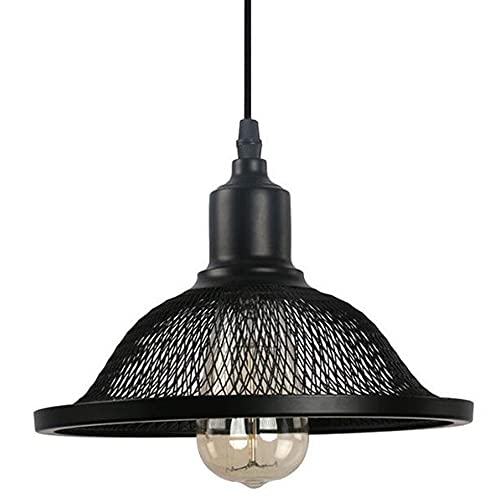 Lámpara Colgante Vintage Negro, Luz de Techo Retro de Metal Casquillo E27 Lámparas Colgantes Industrial Ajustable en Altura Iluminación de Techo de Creativo para Cocina Sala Restaurante Bar Cafetería