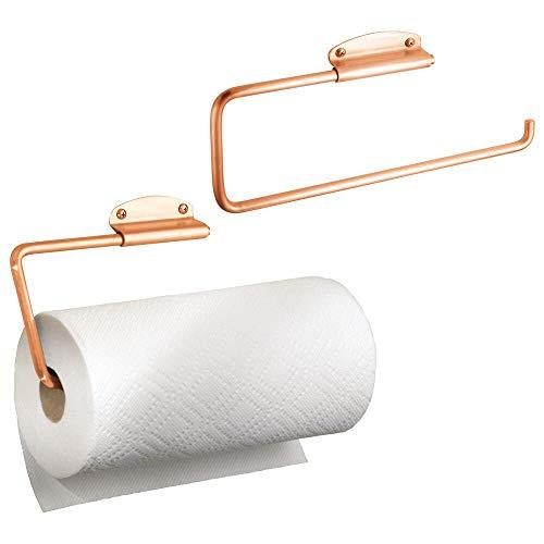 mDesign support pour essuie-tout en métal (lot de 2) – porte-papier de cuisine mural – dérouleur de papier pour montage à l'armoire de la cuisine ou au mur – couleur cuivre