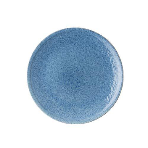hongbanlemp Platos Llanos Placa de Cena Azul con Textura Delicada, Placa Grande Adecuada para bistec, Ensalada, Aperitivo, Placa de Porcelana Segura de microondas Vajilla Porcelana