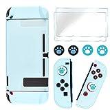 DLseego Switch Funda protectora completa compatible con Nintendo Switch Joy-Con Controladores con Protector de Pantalla de Cristal Anti-Arañazos [Baby Skin Touch] Grip Cover - Azul
