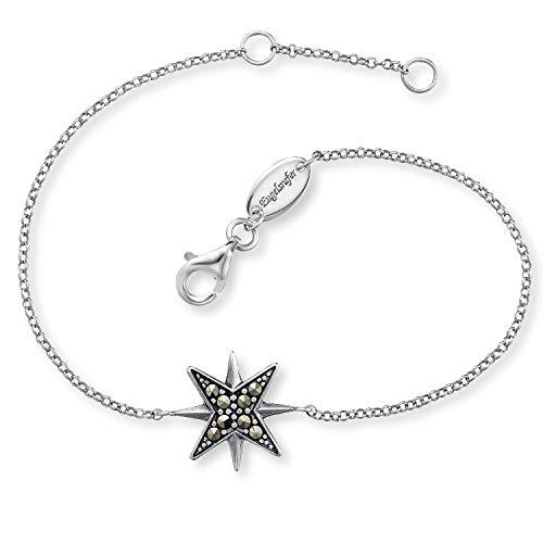 Engelsrufer - funkelndes Damen Armband Stern aus 925 Sterlingsilber mit Markasit Edelsteine, edle Edelschmuck Frauen Armbänder aus Silber, echter eleganter Silberschmuck