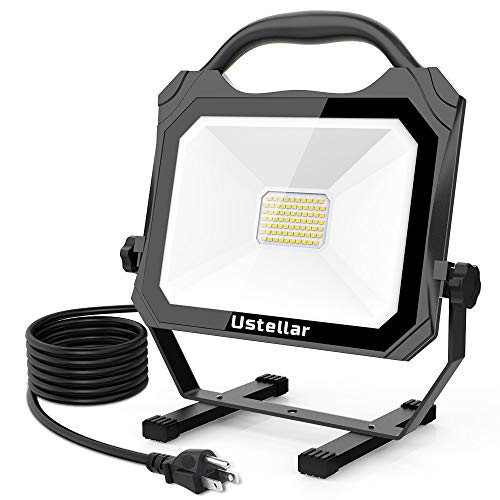 Ustellar 50W LED Work Light Ultra-Thin (400W Equivalent), Waterproof Working Lights with Stand, Portable Lighting for Construction Site, Workshop, 5000K Daylight White, 16ft/5M UL Listed Cord (50W)