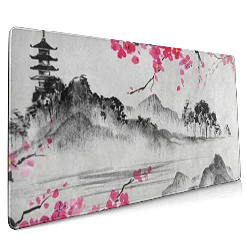 Xxl Mouse Pad Japanese Oil Painting Cherry Blossom Sakura Flower Gaming Mouse Pad, Mouse Pad For Women, Extended Mouse Pad, Keyboard Mouse Pad, Long Mouse Pad, Laptop Mouse Pad, 90x40 Mouse Pad Non-Sl