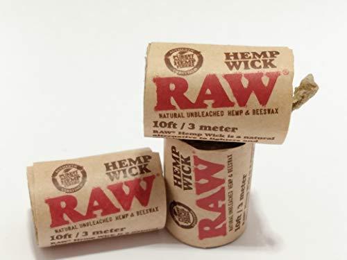 RAW Hemp Wick- Natural Unbleached Hemp & Beeswax Hempwick Roll 10ft /...