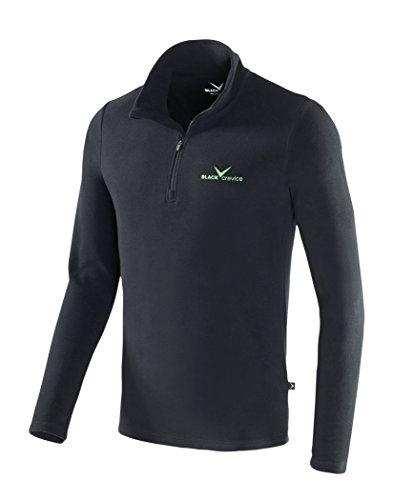 Black Crevice Herren Fleece-Funktionsrolli, Schwarz (Black - black / green), 4XL (Herstellergröße: 60)